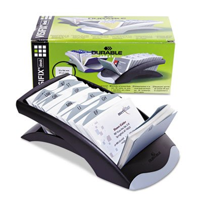 VISIFIX Desk Business Card File Holds 200 4 1/8 x 2 7/8 Cards, Graphite/Black, Sold as 1 Each