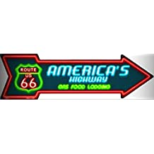 ROUTE 66 GAS FOOD LODGING AMERICA'S HWY. METAL NOVELTY DIRECTIONAL ARROW SIGN for Home/Man Cave Decor by PrettyMerchant