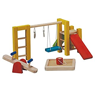 PlanToys Wooden Dollhouse Playground Equipment (7153)   Sustainably Made from Rubberwood and Non-Toxic Paints and Dyes
