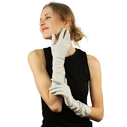 Elegant Satin Matte No Shine Stretchy Dressy Evening Below Elbow Gloves