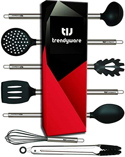 Kitchen Utensil Set - Non-Scratch, Silicone, Stainless Steel - Safe for Non-Stick Pots, Pans, Cookwares - Non Scratch Whisk