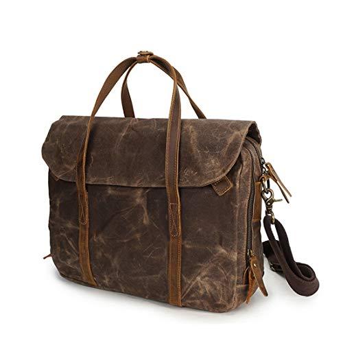 Canvas Zipper Casual Para Brief Ploekgda Hombres Bag Armygreen Shoulder Messenger Retro Simple Coffee color Color wI1qxRAp