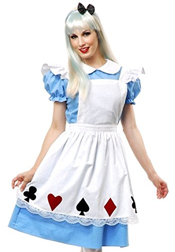 Binglinghua Women's Miss Wonderland Costume Adult Alice Maid Halloween Costume Dress (XL) -