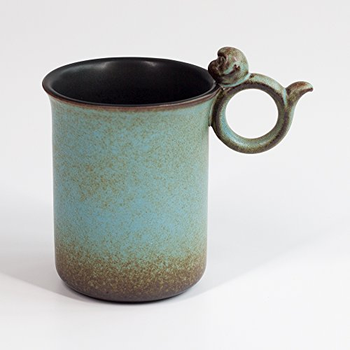 Mountain Set Joyful Monkey Mug, 10.5 Ounce For Coffee, Tea, Cocoa, Svelte Body, Cute Ceramic Mug, Asian Style by Mountain Set