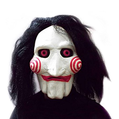 Cacys-Store - Movie Saw Chainsaw massacre Jigsaw Puppet Masks Latex Creepy Halloween gift full mask Scary prop unisex party cosplay supplies for $<!--$24.99-->
