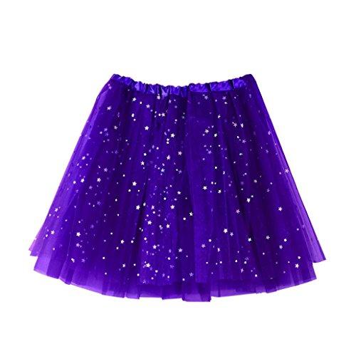 Moonuy Femme Mini Courte Robe Tutu Gaze plisse jupe courte Jupe de danse Tutu adulte jupe ballet tutu court en tulle couleurs varies violet fonc,