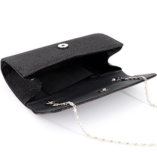 Material Bag Handbag Party Purse Evening Shoulder Fabric Clutch Mesh Shiny Wedding Gabrine Black for Womens vnZwvx