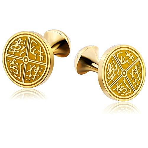 (AMDXD Cufflinks for Men Gothic Gold Yellow Round Engraved Pattern Shirt Cufflinks Cuff Links Mens Stainless Steel 1.7x1.7CM)