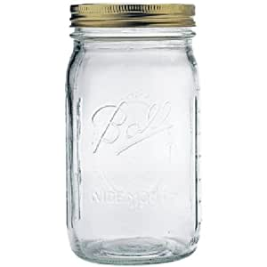 1 Ball Mason Jar Wide Mouth 32 oz. (Quart) with Lid and Band - Clear