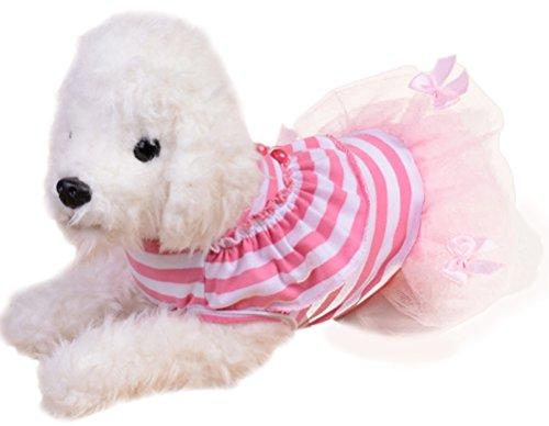 Freerun Dog Cat Pet Puppy Spring Summer Soft Stripes Mesh Lace Tutu Dress Skirt with Cute Bowknots - Pink, XL