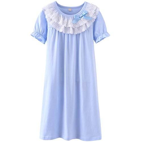 (JAJADO Girls Kids Lace Bowknot Nightgown Short Sleeve Cotton Sleepwear Pajamas Dress(Blue,5-6 Years))