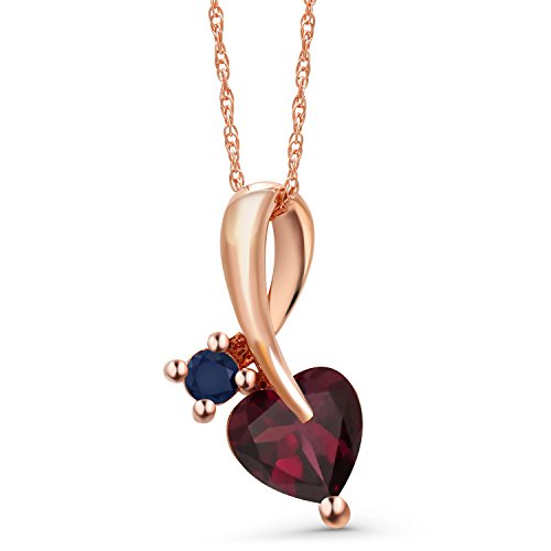 - Gem Stone King 0.85 Ct Heart Shape Red Rhodolite Garnet Blue Sapphire 10K Rose Gold Pendant