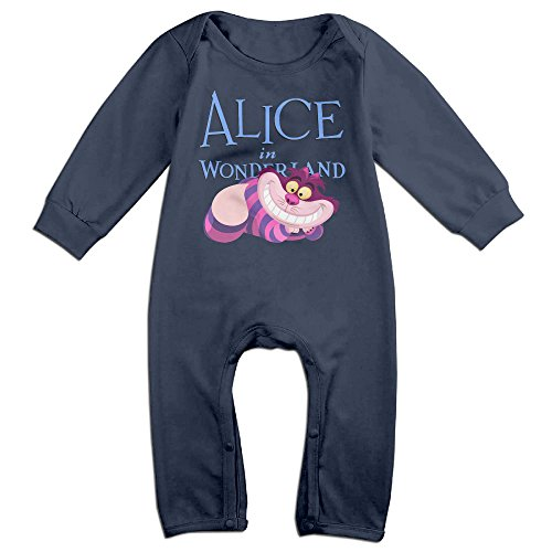 NCACA Newborn Babys Boy's & Girl's Alice In Wonderland Cheshire Cat Long Sleeve Romper Bodysuit Outfits For 6-24 Months Navy Size 18 Months (Alice In Wonderland Cast Costumes)