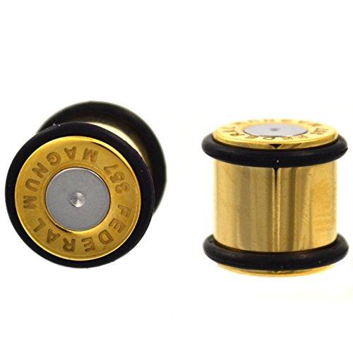 Pair of Gold IP Plated Steel Bullet Ear Plugs No Flare Gauges w/2 Black O-Rings - 0 Gauge 8mm