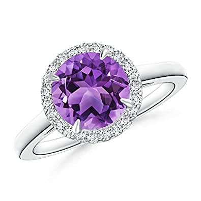 Angara Claw Tanzanite and Diamond Halo Cathedral Ring in White Gold 4mAv6Jy