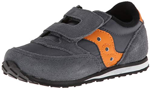 Saucony Jazz Hook & Loop Sneaker (Toddler/Little Kid), Grey/Orange, 5 M US Toddler