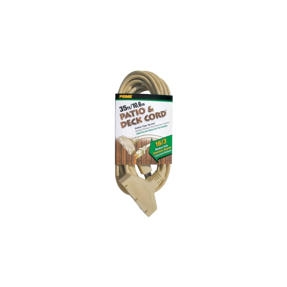 Prime Wire & Cable EC601627 35 Foot 16/3 SJTW Triple Tap Patio and Deck Extension Cord, Beige