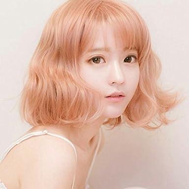 14inch Short Air Bang Paragraph with Daily Harajuku Pink Gold Cosplay Wig Origial DE lamp