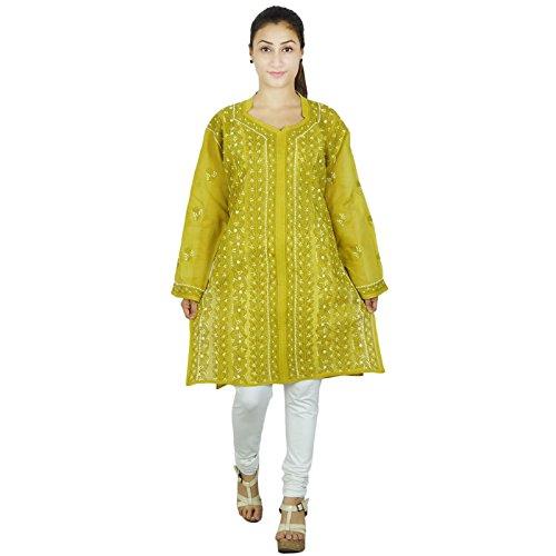 Vestido de la túnica bordada indio Bollywood Chikan Kurta Mujeres Kurti informal Verde oliva