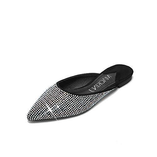 Mackin J 327-1 Women's Classic Pointed Toe Flat with Rhinestones(9, Black)