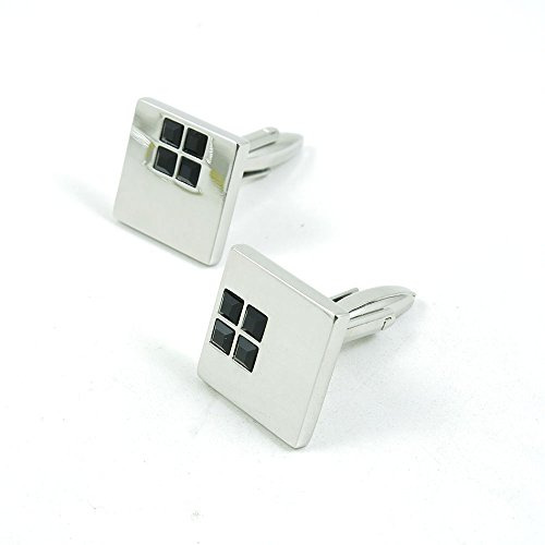 50 Pairs Cufflinks Cuff Links Fashion Mens Boys Jewelry Wedding Party Favors Gift 800IG0 Black Square Stone by Fulllove Jewelry
