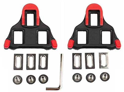 Bicycle Shoe Cleats (hothuimin Bike Cleats Self-locking Road Cycling Bicycle Cleat Set Compatible with Shimano&Look (red))