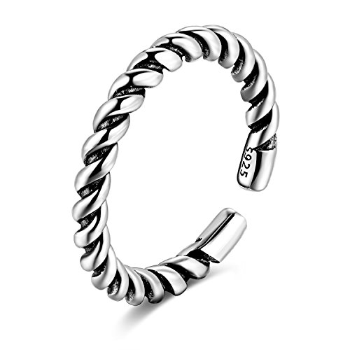 Candyfancy 925 Sterling Silver Twisted Finger Band Open Adjustable Ring Women Girls