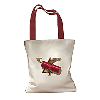 Firework And Number Four 4th of July Canvas Colored Handles Tote Bag