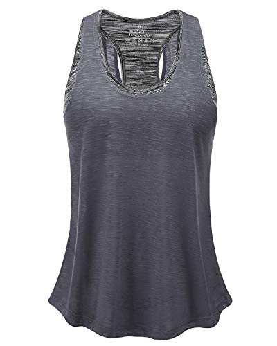 Women's Lightweight Sexy Yoga Tops with Sport Bra, Open Back Tank Top for Workout Exercise Running Gym (Dark Gray&Gray Bra, XL)