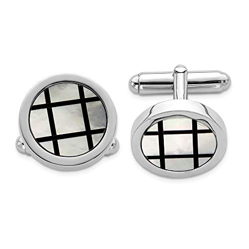 - 925 Sterling Silver Mop Black Enamel Cuff Links Mens Cufflinks Man Link Fine Jewelry Gift For Dad Mens For Him