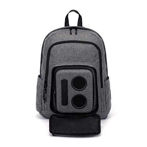 Bluetooth Speaker Backpack with 15-Watt Speakers & Subwoofer for Parties/Festivals/Beach/School. Rechargeable, Works with iPhone & Android (Gray, 2019 Edition) ()