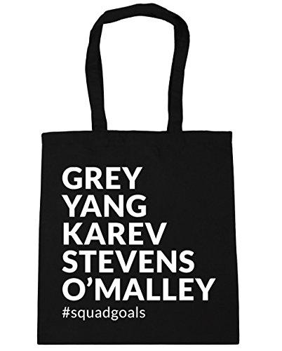 HippoWarehouse Grey Yang Karev Stevens O´Malley Squadgoals Bolso de Playa Bolsa Compra Con Asas para gimnasio 42cm x 38cm 10 litros capacidad Negro