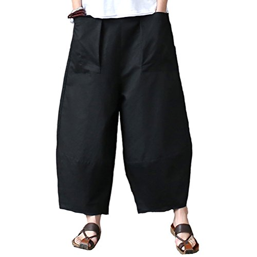 Aeneontrue Women's Casual Linen Wide Leg Pants Trousers with Elastic Waist (Style1_Black, X-Large) ()
