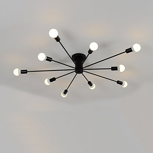 Aero Snail Modern Style Flush Mount Designers Metal 10-Light Ceiling Lamp Chandelier Lighting Fixure