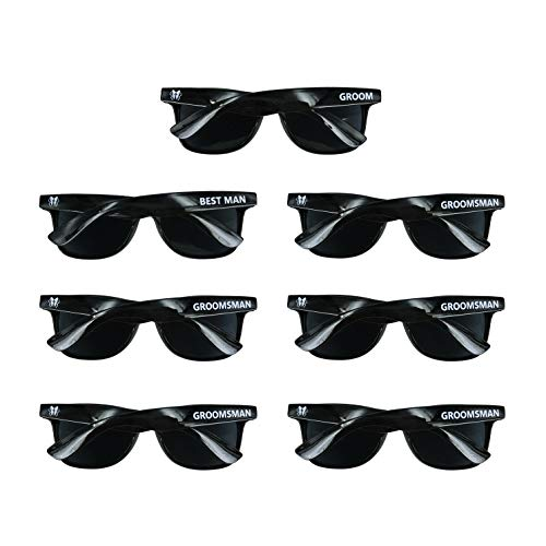Bachelor Party 7pcs Wayfarer Weddings Gift Sunglasses for Groom, Best man, Groomsman