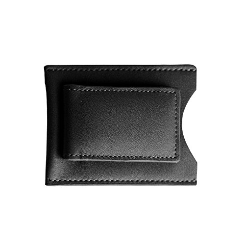 Andrew Philips Magnetic Leather Money Clip with Card Pocket in (Napa Leather Magnetic Money Clip)