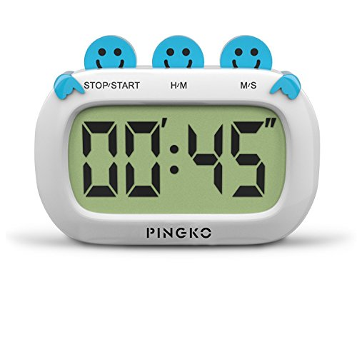 PINGKO Digital Kitchen Timer Fashion Design Clock Cooking Timer with Big Digits,Large LCD Display, Loud Alarm, Magnetic Backing Stand,Battery Included-Blue ()