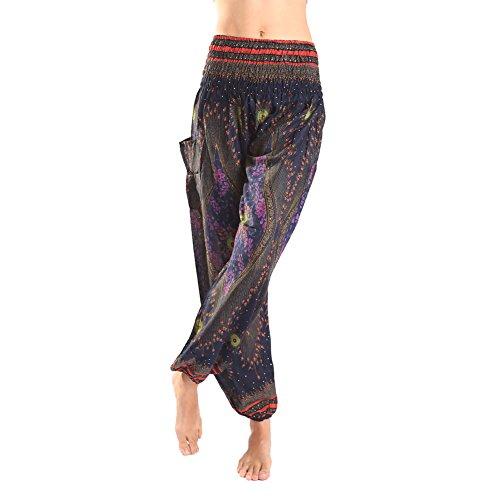rita-risa-womens-boho-peacock-tail-printed-elastic-waist-harem-pants-black