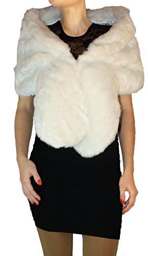 estola tipo Bolero, chaqueta para novia de pelo sintético Weiß