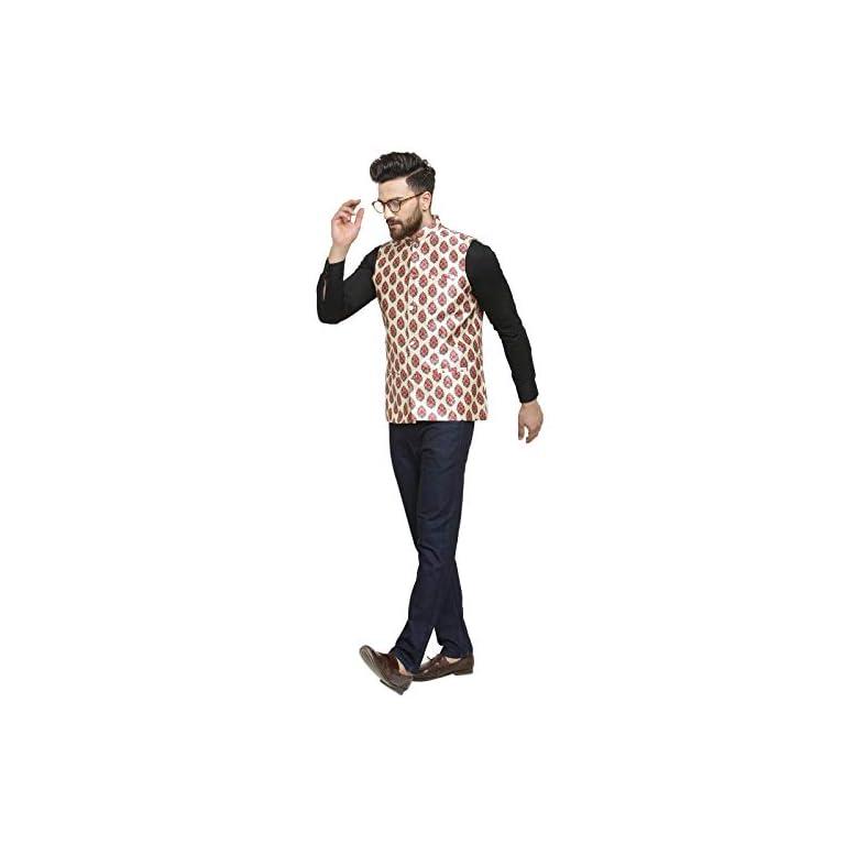 41YdCtbzlkL. SS768  - Ben Martin Men's Dupion Silk Nehru Jacket Waistcoat-(BM-WS-Printed-JAIPURI)