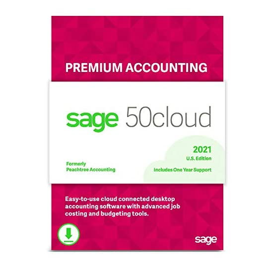 Sage 50cloud Premium Accounting 2021 U.S. 1-User One Year Subscription Cloud Connected Small Business Accounting…