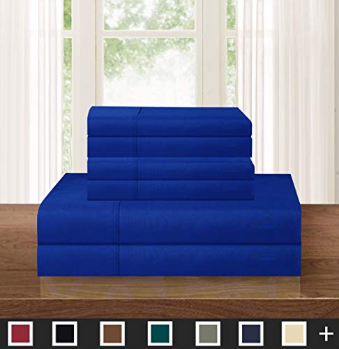 Elegant Comfort Luxurious Soft 1500 Thread Count Egyptian 6-Piece Premium Hotel Quality Wrinkle Resistant Coziest Bedding Set, Easy All Around Elastic Fitted Sheet, Deep Pocket, King, Royal Blue