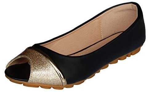 - Modenpeak Women Peep Toe Crystal Glitter Slip-Ons Ballet Flat Black 6.5-7