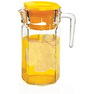 Circleware Lodge Glass Beverage Drink Pitcher with Yellow Plastic Lid, 50 oz., Clear