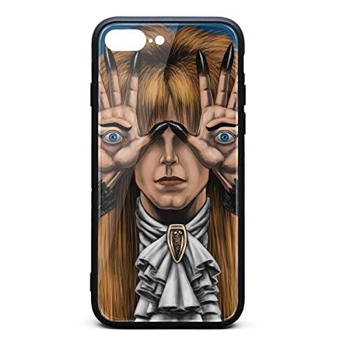 Punk Phone Case for iPhone 8Plus/iPhone 7Plus Pan's-Labyrinth-Starring-David-Bowie- Tempered Glass Black Anti-Scratch TPU Rubber Bumper Shock Protector for Mans Womans Back Cover