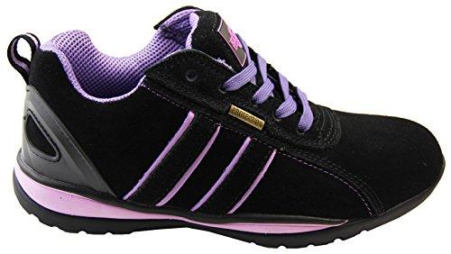Northwest Territory Mujer Ottowa Gamuza Puntera de Acero Zapato de Seguridad Negro y púrpura