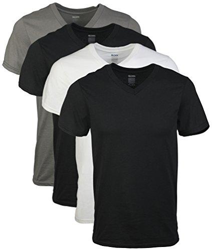 Gildan+Men%27s+V-Neck+T-Shirts+Multipack%2C+Grey%2C+Black%2C+XX-Large