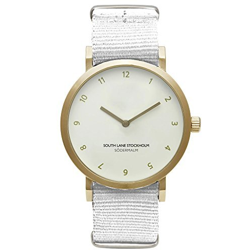 South Lane 'Sodermalm' Quartz Stainless Steel and Nylon Casual Watch Color:White (Model: W17_Gold_20) [並行輸入品] B078BB9JTC