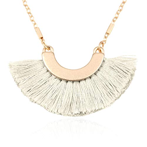 Half Moon Charm - RIAH FASHION Bohemian Fringe Tassel Pendant Statement Necklace - Silky Strand Semi Circle Thread Fan Charm Long Chain (Half Moon/Small - Ivory)