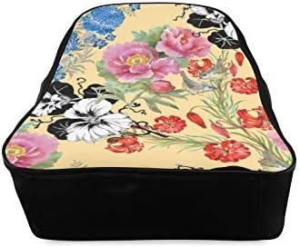 Chinese Beautiful Flower Season Bookbag For Girls Fashion School Bag College Women Bags Print Zipper Students Unisex Adult Teens Gift